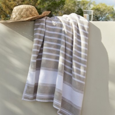 The White Company Morella Outdoor Towel, White Natural, Bath Towel