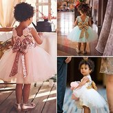 Gift!! Party Princess Baby Girl Sequins Boknot Dress Ball Gown Party Bridesmaid Formal Dress (5T, White)