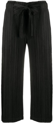Pleats Please Issey Miyake Micro-Pleated Belted Cropped Trousers