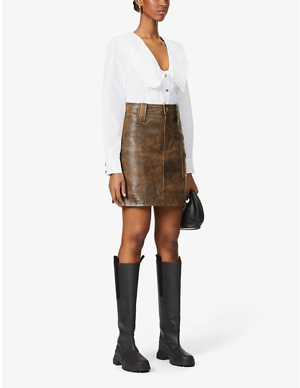 Thumbnail for your product : Ganni Distressed leather mini skirt