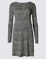 Marks and Spencer Printed Long Sleeve Swing Dress