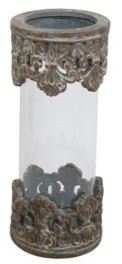 Rosemary Lane Rustic Cylindrical Glass and Resin Ornate Candle Holder