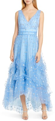 Marchesa Sequin Dot High/Low Tulle Cocktail Dress
