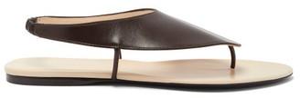 The Row Ravello Leather Sandals - Dark Brown