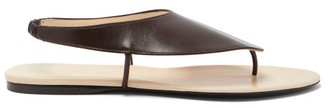 The Row Ravello Leather Sandals - Womens - Dark Brown