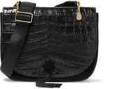 Elizabeth and James Zoe Saddle croc-effect leather and suede shoulder bag