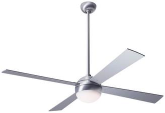 "Modern Fan Ball 20W LED Fan, Brushed Aluminum, 52"" Aluminum Blades"