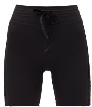 The Upside Velvet Side-stripe Technical Cycling Shorts - Womens - Black
