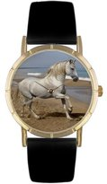 Whimsical Watches Kids' P0110021 Classic Andalusian Horse Black Leather And Goldtone Photo Watch