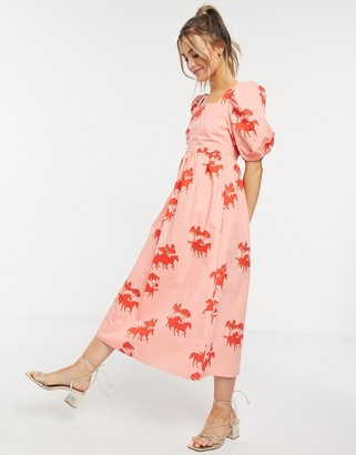 NEVER FULLY DRESSED puff-sleeved tie midi smock dress in contrast horse print