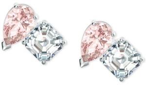 Swarovski Silver-Tone Double Crystal Stud Earrings