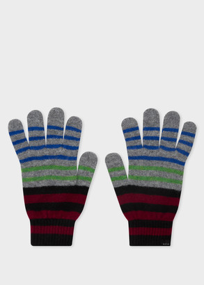 Paul Smith Men's Grey And Black Stripe Lambswool Gloves