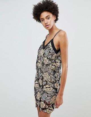 N12h N12H Midnight Blooms Lace Slip Dress-Gold