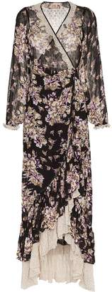By Ti Mo Bytimo floral print contrast hem wrap dress