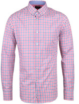 Paul & Shark Over Check Red & Blue Long Sleeve Slim Fit Shirt