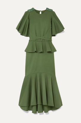 Johanna Ortiz Follow The Drums Ruffled Embellished Cotton-blend Midi Dress - Army green