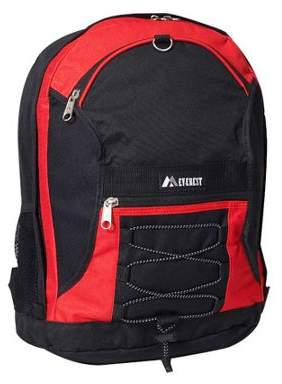 Everest Two-Tone Backpack w/ Mesh Pockets, Red Black