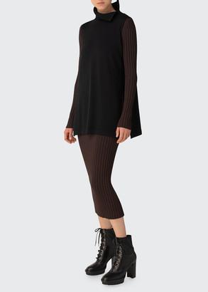 Akris Double-Layer Knit Midi Body-Con Dress