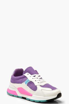 boohoo Sporty Colour Pop Trainers