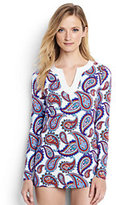 Classic Women's Petite Long Sleeve Swim Tunic Rash Guard-White/Deep Sea Pretty Paisley