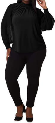 Maree Pour Toi Plus Size Crepe Knit Chiffon-Sleeve Blouse