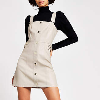 River Island Stone faux leather pinafore mini dress