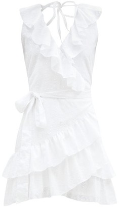 Melissa Odabash Molly Ruffled Cotton Wrap Dress - White