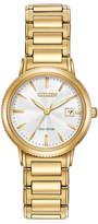 Citizen 28mm Silhouette Sport Bracelet Watch, Yellow Golden/White