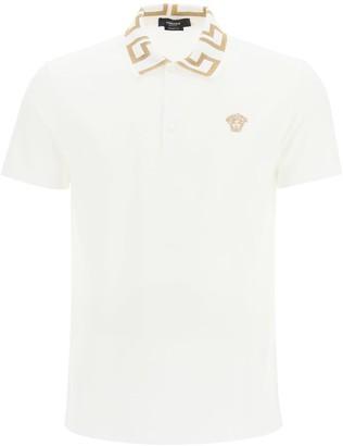 Versace Polo Shirt With Golden Greca