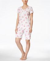 Charter Club Flower-Print Bermuda Short Pajama Set, Only at Macy's