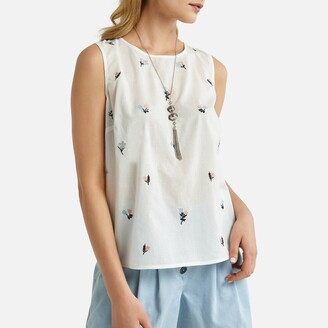Anne Weyburn Embroidered Cotton Sleeveless Blouse