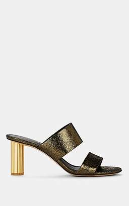 Salvatore Ferragamo Women's Molveno Flower-Heel Metallic Leather Sandals - Gold