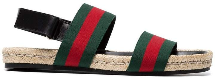 Gucci Green and red web sandals