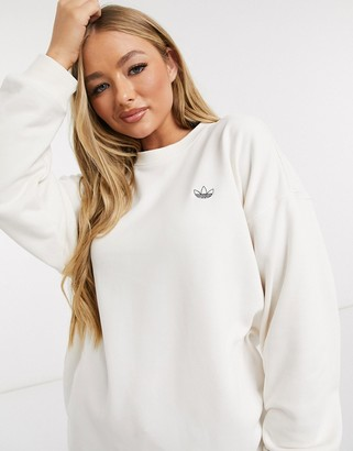 adidas Fakten diamante long sleeve t-shirt in white