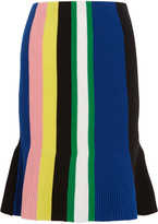 J.W.Anderson Striped Ribbed Merino Wool Skirt - Blue