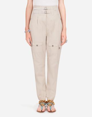 Dolce & Gabbana Cotton Pants With Strap Details