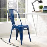 Walker Edison Furniture Company Metal Cafe Chair in Navy Blue