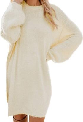 LEXUPE Women Winter Sweater Knit Turtleneck Warm Long Sleeve Pocket Mini Sweater Dress(Pink 3XL)