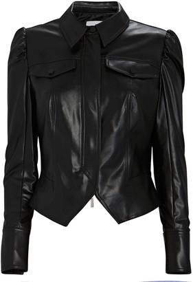 JONATHAN SIMKHAI STANDARD Vegan Leather Puff Sleeve Jacket