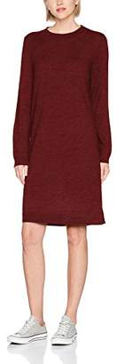 Selected Women's Sfeileen Ls Knit O-Neck Dress Red Syrah, (Size: Small)