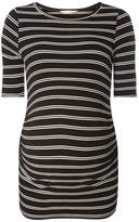 **Maternity Black and White Stripe Ribbed Top