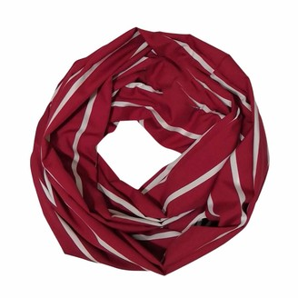 Fhuuly Women Stripe Winter Convertible Infinity Scarf Pocket Loop Zipper Pocket Scarves(Red-30X180cm/11.8x70.9'')