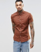 Asos Skinny Shirt In Rust Twill With Short Sleeves