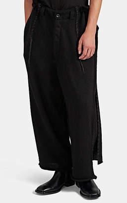 Yohji Yamamoto Men's Lace-Up Oversized Wool Pants - Black