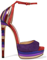 Jimmy Choo Max Metallic Leather-paneled Suede Platform Sandals - Purple