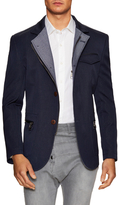 Stand Collar Jacket in Navy