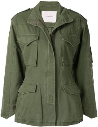 pushBUTTON cut out cargo jacket