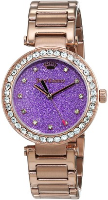 Juicy Couture Cali Women's Quartz Watch with Purple Dial Analogue Display and Rose Gold Stainless Steel Bracelet 1901329