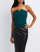 Charlotte Russe Notched Wrap Crop Top