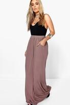 Boohoo Plus Rae Pocket Front Jersey Maxi Skirt mocha